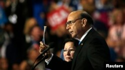 Khizr Khan, who's son Humayun was killed serving in the U.S. Army ten years after September 11, 2001, challenges Republican presidential nominee Donald Trump to read his copy of the U.S. Constitution at the Democratic National Convention in Philadelphia,