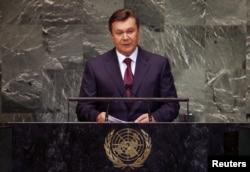 President of Ukraine Viktor Yanukovych addresses the 67th United Nations General Assembly at U.N. headquarters in New York, September 26, 2012.