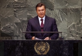 President of Ukraine Viktor Yanukovych addresses the 67th United Nations General Assembly at U.N. headquarters in New York, September 26, 2012.
