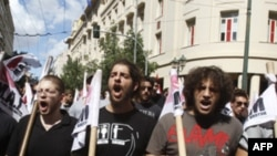 Sinh viên biểu tình chống biện pháp khắc khổ kinh tế và cải cách giáo dục ở Athens, 22/9/2011