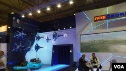 國防出口公司在莫斯科航展上的展台 (美國之音白樺拍攝)