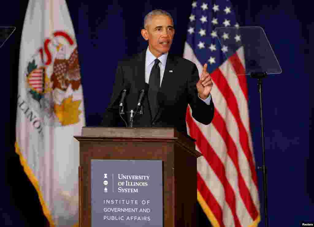 سخنرانی باراک اوباما، رئیس چمهوری پیشین آمریکا در دانشگاه ایلینوی