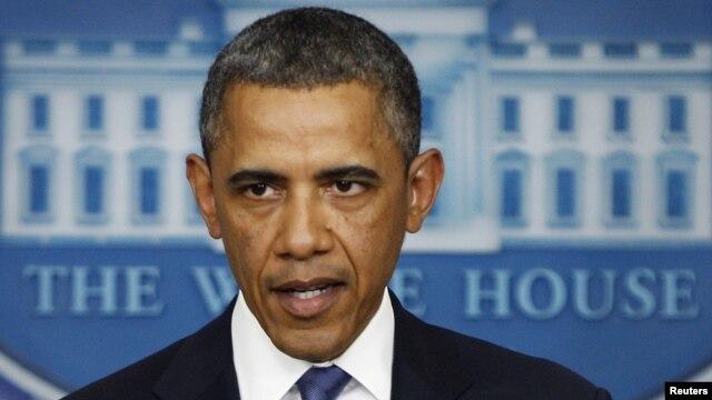31일 미국 백악관에서 정치권의 재정절벽 협상에 관한 입장을 밝히는 바락 오바마 대통령.