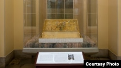 The Magna Carta display in the Crypt of the United States Capitol features a replica of the English document.