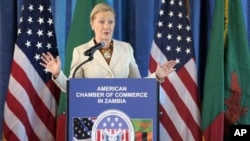 U.S. Secretary of State Hillary Clinton speaks in Zambia.