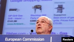 European Union Competition Commissioner Joaquin Almunia speaks during a news conference at the EU Commission headquarters in Brussels, Feb. 5, 2014.