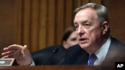 Democratic Senator Dick Durbin (shown) and Republican Senator Rob Portman are co-chairmen of the Senate Ukraine caucus. On Dec. 8, the group called on President-elect Donald Trump to take a tough line against Russia.