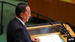 朝鲜外相李勇浩2018年9月29日在联合国大会上发言(法新社)