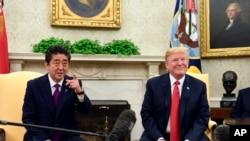 Tổng thống Mỹ Donald Trump tiếp Thủ tướng Nhật Shinzo Abe tại Tòa Bạch Ốc ngày 7/6/18.