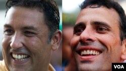 Pablo Pérez (izquierda) y Enrique Capriles son los precandidatos de oposición con más apoyo, según sondeos.