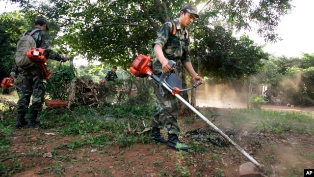 Soldiers clean a backyard to prevent the spread of yellow fever in San Lorenzo, Paraguay, Feb 19, 2008.