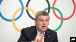 Le président du Comité international olympique Thomas Bach au siège du CIO à Lausanne, Suisse, le 9 Juillet 2014.