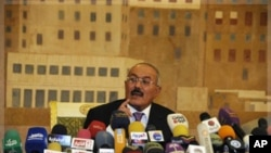 Yemen's President Ali Abdullah Saleh speaks to reporters during a press conference at the Presidential Palace in Sanaa, Yemen, Saturday, Dec. 24, 2011.
