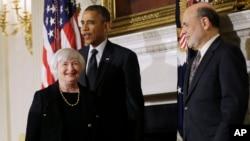 10月9日奥巴马总统在白宫提名耶伦为美联储主席