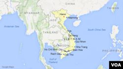 Peta wilayah Vietnam.