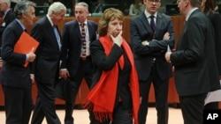Pemimpin Kebijakan Uni Eropa Catherine Ashton di Brussels, 20 Februari 2014 (Foto: dok). Catherine Ashton berkunjung ke Ukraina, Senin (24/2) untuk bertemu dengan para pemimpin sementara yang ingin Ukraina menjalin hubungan lebih erat dengan Uni Eropa.