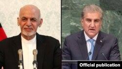 وزیر خارجہ شاہ محمود قریشی اور افغان صدر اشرف غنی۔