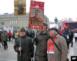2011年12月18日俄罗斯共产党反政府集会上斯大林支持者