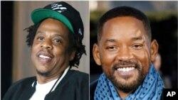 Rapper e empresário Jay-Z (esq), rapper, actor e empresário Will Smith