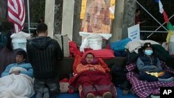 Three Tibetans outside of UN headquarters enter 17th day of their water-only fast for human rights, March 9 2012.