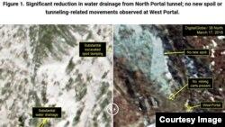 38노스가 공개한 이달 2일(왼쪽)과 17일 풍계리 핵실험장 일대 위성사진. 오른쪽 사진에서 서쪽 갱도에 굴착장비가 사라지고, 흙무더기의 크기 변화도 없다. (38노스 홈페이지 캡쳐/디지털글로브 위성사진)