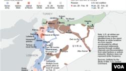Райони повітряних ударів у Сирії