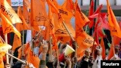 سخت گیر، شو سینا پارٹی کا نئی دہلی میں مظاہرہ (فائل)
