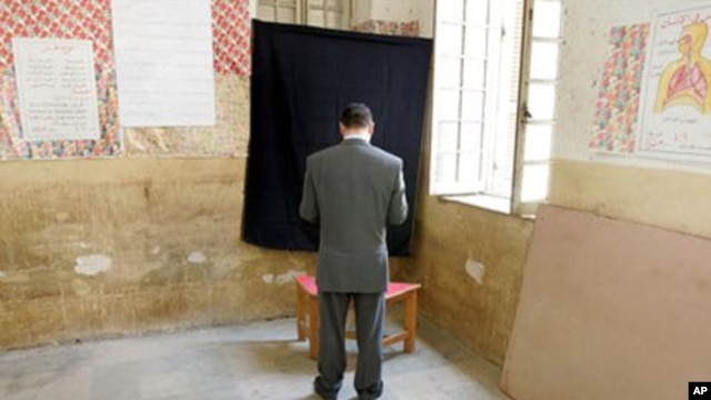 At a polling station in Cairo (file photo)