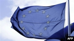 Cờ của EU trước trụ sở ở Brussels, Bỉ