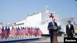 美國總統特朗普3月28日在維吉尼亞州的諾福克軍港為啟程前往紐約市的海軍醫療艦送行並講話。