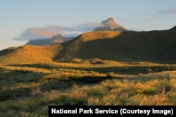 The Chisos Mountains in the afternoon light, Big Bend National Park.