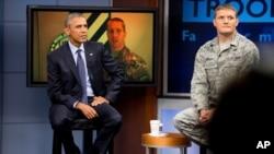 奧巴馬總統2015年911紀念日在馬里蘭州米德堡基地同美國官兵對話。