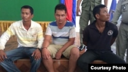 The three suspects who were arrested on Oct 12, 2014 for the alleged murder of a Cambodian journalist, Taing Try in Kratie province. From left to right are La Narong, Kem Pheakdey and Pin Heang. (Photo: Khmer Journalist Democracy Association)