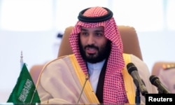 FILE - Saudi Crown Prince Mohammed bin Salman speaks during a meeting in Riyadh, Nov. 26, 2017. (Saudi Royal Court/Handout via Reuters)