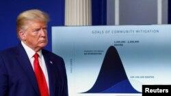 Presiden Donald Trump berdiri di depan grafik perkiraan angka kematian akibat virus corona di AS, 31 Maret 2020. (FotoL Reuters)