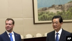 俄羅斯總統梅德韋傑夫星期三在海南島與中國國家主席胡錦濤會面。
