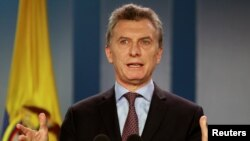FILE - Argentina's President Mauricio Macri speaks during a news conference.