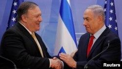 마이크 폼페오 미국 국무장관이 20일 예루살렘에서 베냐민 네타냐후 이스라엘 총리와 회담했다.