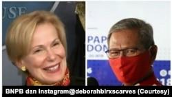 Koordinator Gugus Tugas Penanganan Virus Corona AS Dr. Deborah Birx dan Juru Bicara Satgas Penanganan Covid-19 dr. Achmad Yurianto dalam kolase. (Foto: Courtesy/BNPB dan Instagram@deborahbirxscarves)