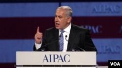 PM Israel Benjamin Netanyahu berbicara dalam forum American Israel Public Affairs Committee (AIPAC) di Washington (23/5).