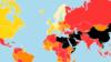 无国界记者组织公布的2020年世界新闻自由状况示意图。