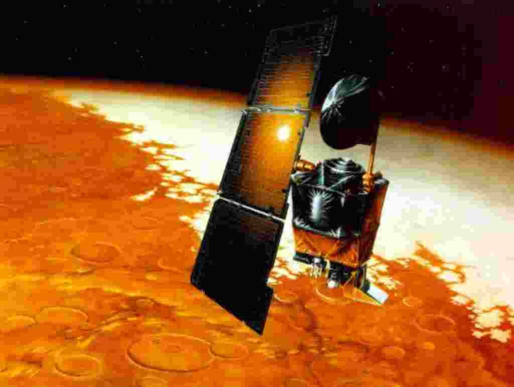 Esta es una ilustración de Orbitador Climático Marte, el primer satélite interplanetario que aterrizará en el planeta rojo.