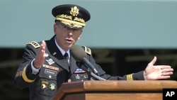 Former Commander of International Security Assistance Force and US Forces-Afghanistan General Davis Petraeus speaks during an armed forces farewell tribute and retirement ceremony at Joint Base Myer-Henderson Hall in Arlington, Virginia, August 31, 2011