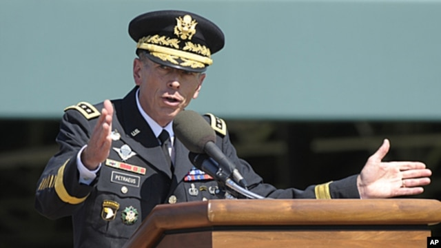 Former Commander of International Security Assistance Force and US Forces-Afghanistan General Davis Petraeus speaks during an armed forces farewell tribute and retirement ceremony at Joint Base Myer-Henderson Hall in Arlington, Virginia, August 31, 2011.