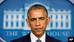 奧巴馬總統7月18日於白宮回答有關烏克蘭形勢提問。