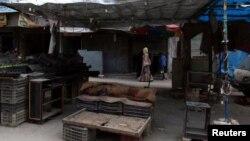 시리아 반군이 점령한 알레포 시에서 25일 한 여성이 텅빈 야채가게 주변을 걷고 있다.