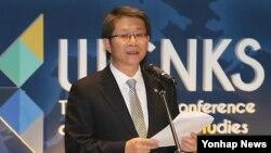 류길재 한국 통일부 장관이 28일 연세대학교 은명대강당에서 개막한 '제1회 세계 북한학 학술대회'에서 축사를 하고 있다.