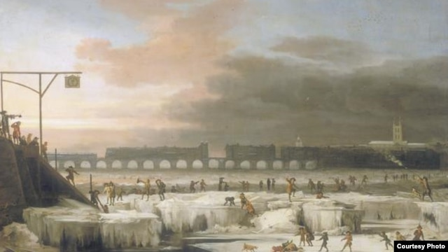 The Frozen Thames River 1677. (Painting by Abraham Hondius via Wikimedia Commons)