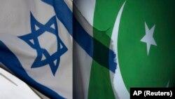Bendera Pakistan dan Israel.