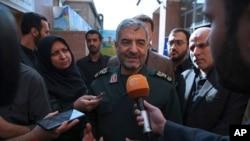 2017年10月31日,伊朗伊斯蘭革命衛隊總指揮官穆罕默德·阿里·賈法裡在德黑蘭對記者講話。